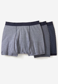 Cotton Mid-Length Briefs 3-Pack, ASSORTED NAVY PATTERN