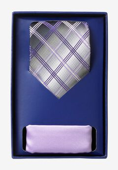 KS Signature Extra Long Tie and Pocket Square Gift Set, PURPLE PLAID TIE
