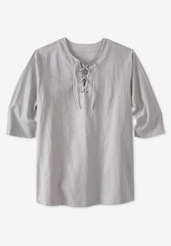 Gauze Lace-Up Shirt,