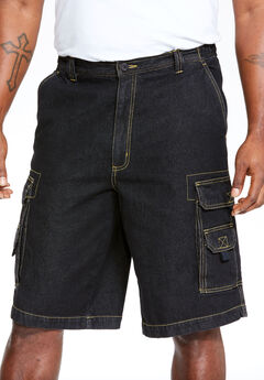 "Boulder Creek® 12"" Denim Cargo Shorts, BLACK DENIM"
