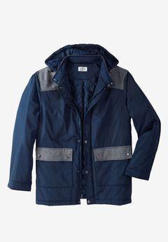 Mixed Media Coat by Liberty Blues®, NAVY NAVY HERRINGBONE