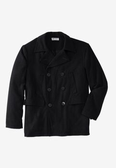 Double-Breasted Wool Peacoat, BLACK