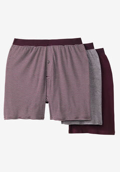 Cotton Boxers 3-Pack, ASSORTED DEEP BURGUNDY STRIPE