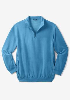Quarter Zip-Front Fleece Jacket, HEATHER ATLANTIC