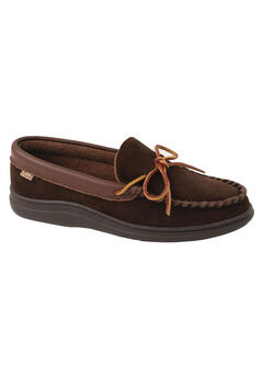 L.B. Evans Atlin Terry Lined Moccasin Slippers, CHOCOLATE