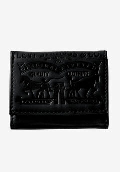 Leather Trifold Wallet with Embossed Logo by Levi's®, BLACK