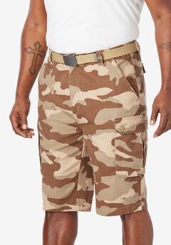 "12"" Side Elastic Cargo Short with Twill Belt, DARK KHAKI CAMO"