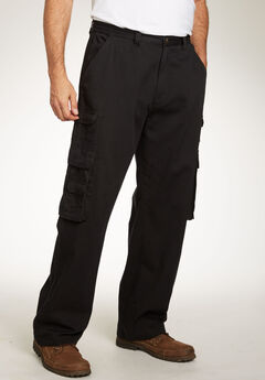 Boulder Creek® Side-Elastic Stacked Cargo Pocket Pants, BLACK