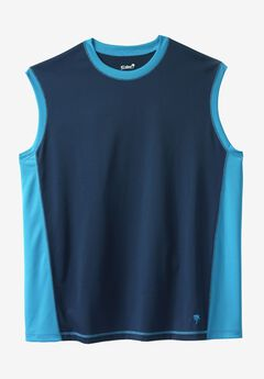 Muscle Swim Shirt by KS Island™, NAVY ELECTRIC TURQUOISE