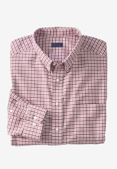 Wrinkle-Resistant Oxford Dress Shirt by KS Signature, RASPBERRY CHECK