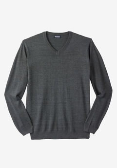 Lightweight V-Neck Sweater, HEATHER CHARCOAL