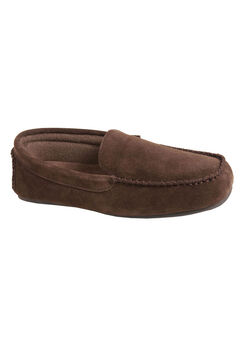 L.B. Evans Darren Suede Moccasin Slippers, CHOCOLATE