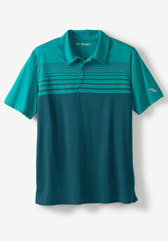 Performance Polo by KS Sport™, MIDNIGHT TEAL STRIPE