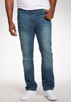 Liberty Blues® Straight-Fit Side Elastic 5-Pocket Jeans, BLUE WASH