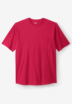 Shrink-Less™ Lightweight Pocket Crewneck T-Shirt, RED