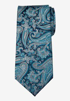 KS Signature Extra Long Classic Paisley Tie, TEAL PAISLEY