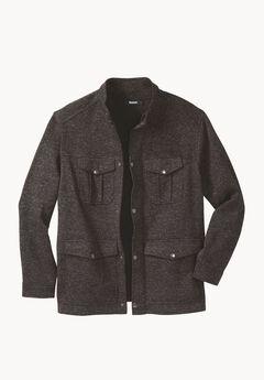Sweater Fleece Multi-Pocket Jacket, STEEL MARL