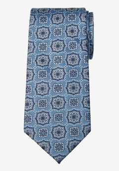 KS Signature Extra Long Classic Fancy Tie, LIGHT BLUE MEDALLION