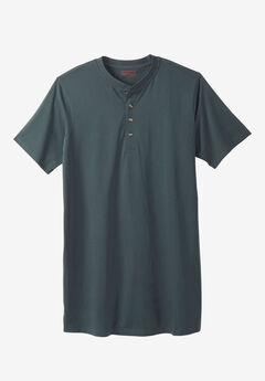 Boulder Creek® Heavyweight Longer-Length Short-Sleeve Henley Shirt,