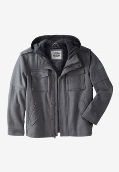 Wool Blend Hooded Trucker Jacket by Levi's®, LIGHT GREY