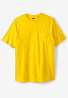 Shrink-Less™ Lightweight Pocket Crewneck T-Shirt, CYBER YELLOW