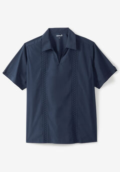 Short Sleeve Guayabera Popover Shirt, NAVY
