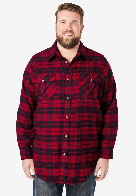 Red//White//Blue 6X Men/'s Big /& Tall 100/% Cotton Long-Sleeve Plaid Flannel Shirt