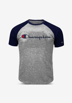 Champion® Raglan Logo tee, HEATHER GREY NAVY