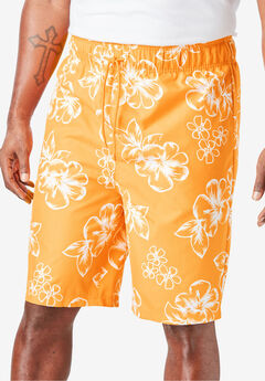 Hibiscus Print Swim Trunks, FLAME ORANGE