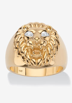 Men's Gold over Sterling Silver Genuine Diamond Accent Lion Ring,