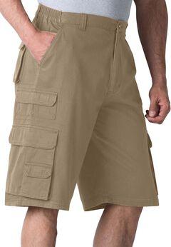 Boulder Creek® Side-Elastic Twill Cargo Shorts, DARK KHAKI