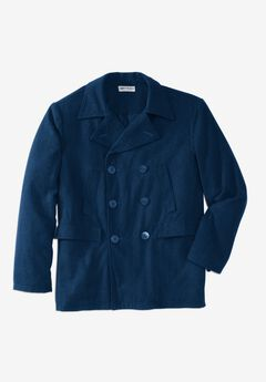 Double-Breasted Wool Peacoat, NAVY
