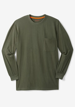 Boulder Creek® Heavyweight Crewneck Long-Sleeve Pocket T-Shirt, OLIVE