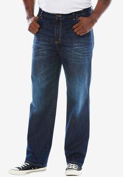 Liberty Blues® Loose Fit Side Elastic 5-Pocket Jeans, MEDIUM BLUE