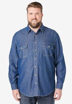 Boulder Creek® Long Sleeve Denim and Twill Shirt,