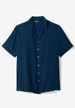 KS Island Solid Rayon Short-Sleeve Shirt, NAVY