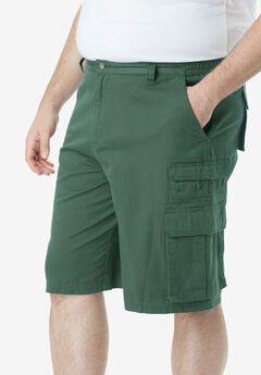 "Boulder Creek® 12"" Side-Elastic Stacked Cargo Pocket Shorts, FOREST GREEN"