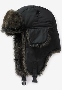 Extra Large Fur Trim Hat, BLACK