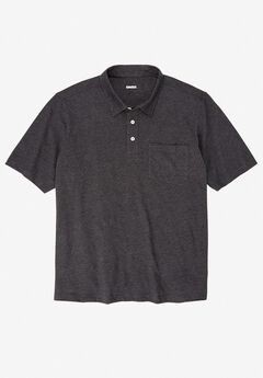 Lightweight Polo T-Shirt, HEATHER CHARCOAL