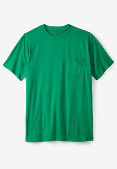 Pima Short-Sleeve Pocket Crewneck T-Shirt, KELLY GREEN