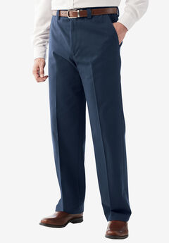 Relaxed Fit Wrinkle-Free Expandable Waist Plain Front Pants, NAVY