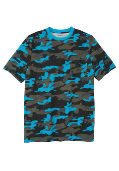 Shrink-Less™ Lightweight Pocket Crewneck T-Shirt, ELECTRIC TURQUOISE CAMO