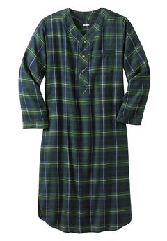 Plaid Flannel Nightshirt, BALSAM PLAID