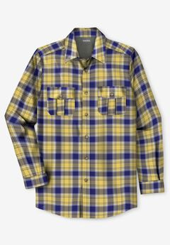 Plaid Flannel Shirt, YELLOW PLAID