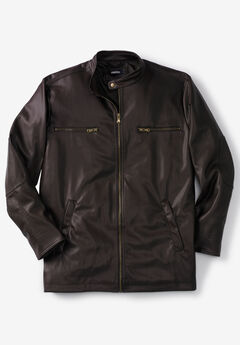 Faux Leather Moto Jacket, BROWN