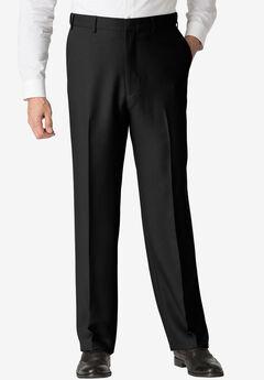 Easy-Care Classic Fit Expandable Waist Plain Front Dress Pants, BLACK