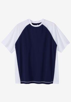 Raglan Sleeve Swim Shirt, NAVY WHITE