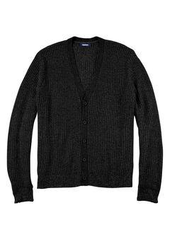 Shaker Knit V-Neck Cardigan Sweater, BLACK
