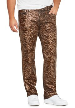 MVP Collections® Leopard Print Wax Straight Fit Jeans,