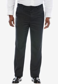KS Signature No Hassle® Classic Fit Expandable Waist Plain Front Dress Pants, HEATHER CHARCOAL